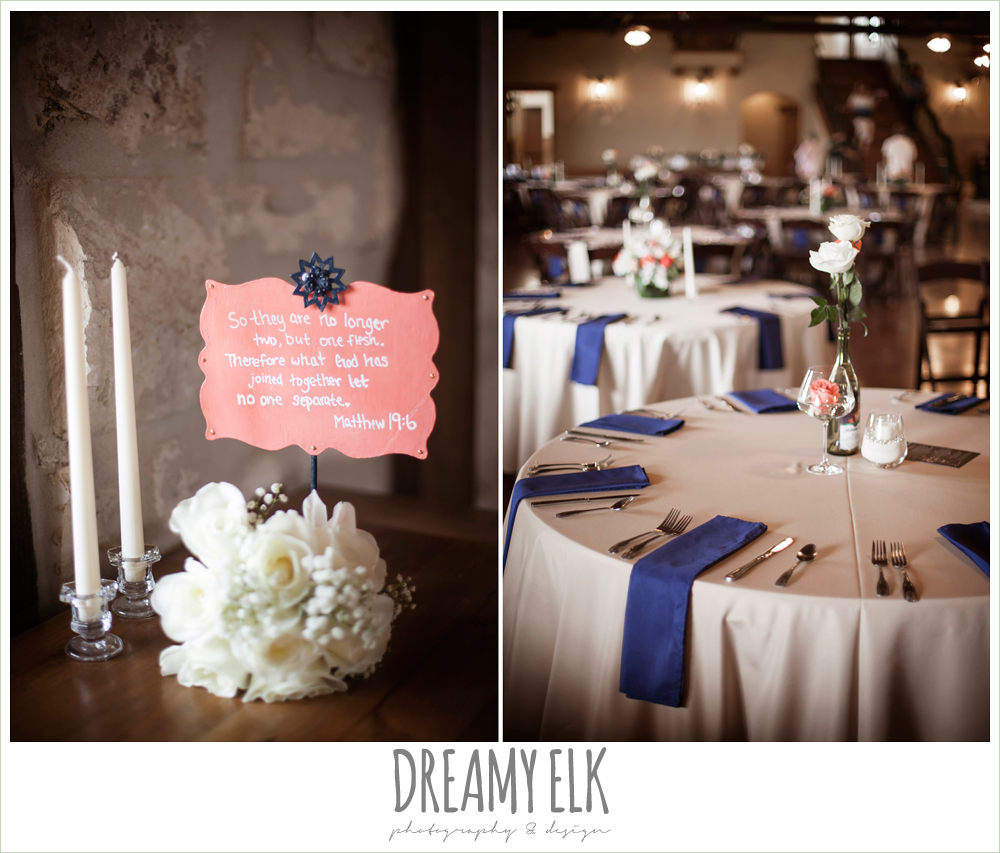 indoor wedding reception decorations, navy and tan linens, pecan springs, houston, texas, photo {dreamy elk photography and design}