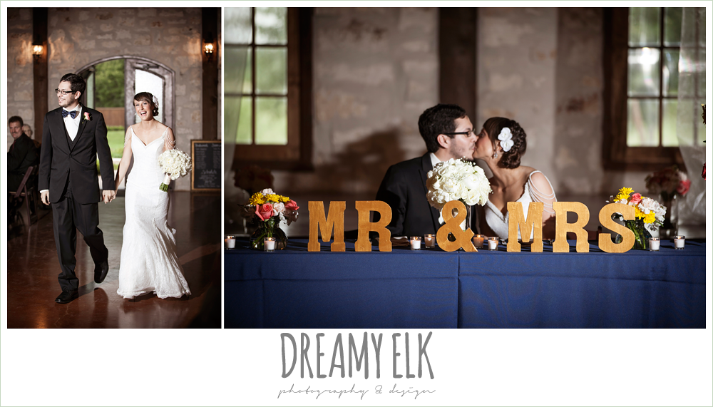 bride and groom entering reception, sweetheart table decoration ideas, mr and mrs., pecan springs, houston, texas photo {dreamy elk photography and design}