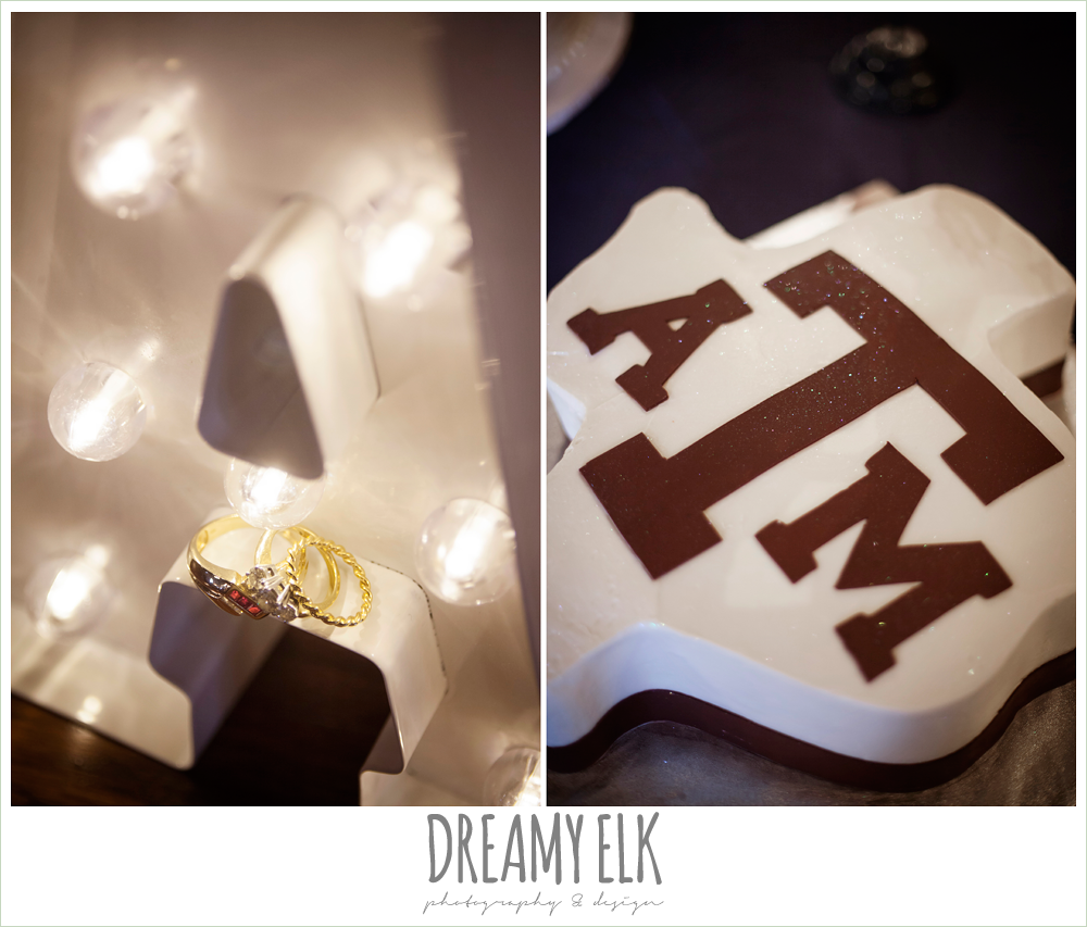 detail photo of wedding rings, marque sign, groom's cake, texas a&m cake, pecan springs, houston, texas photo {dreamy elk photography and design}