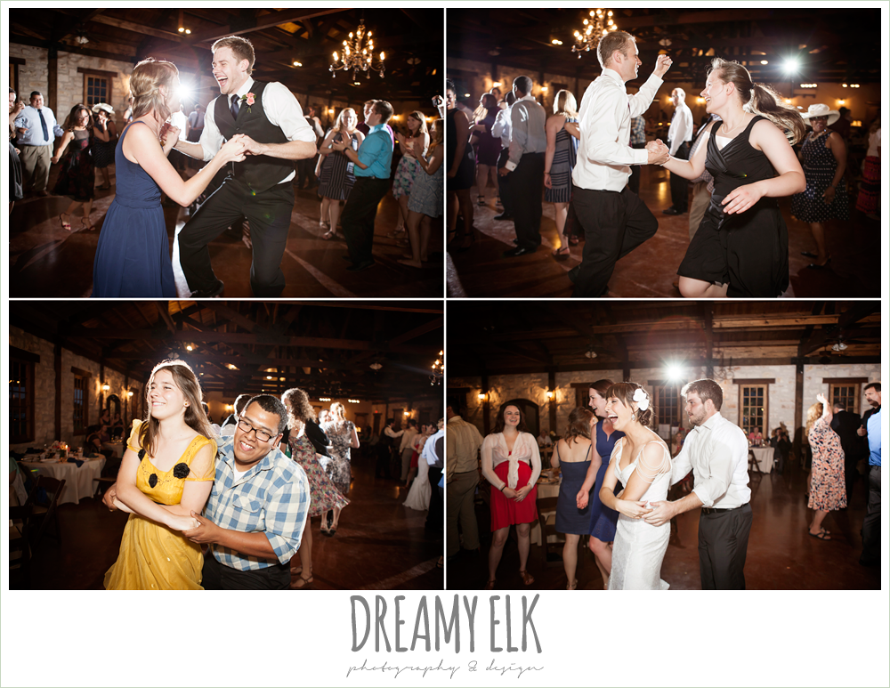 guests dancing at wedding reception, pecan springs, houston, texas photo {dreamy elk photography and design}