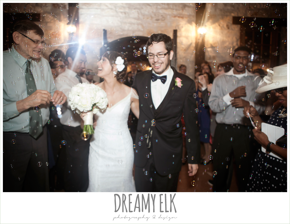 bride and groom send off with bubbles at night, pecan springs, houston, texas photo {dreamy elk photography and design}