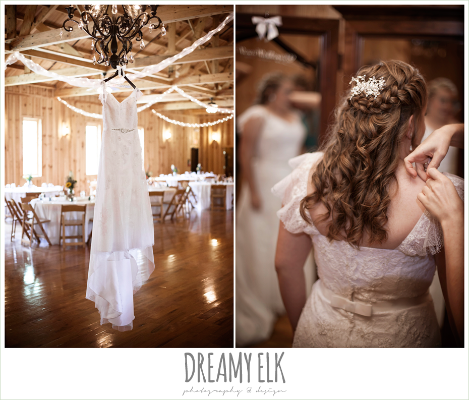 lace wedding dress hanging on chandelier, wedding hair down, amber springs summer wedding photo {dreamy elk photography and design}