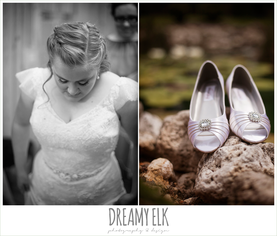 white satin wedding shoes, lace wedding dress with sleeves, amber springs summer wedding photo {dreamy elk photography and design}