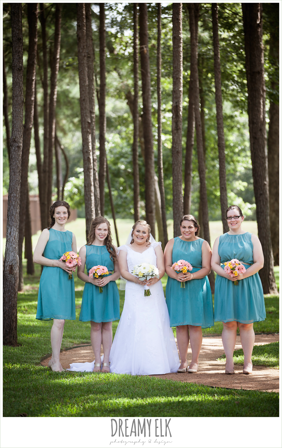 outdoor bridal party, blue bridesmaids dresses, amber springs summer wedding photo {dreamy elk photography and design}