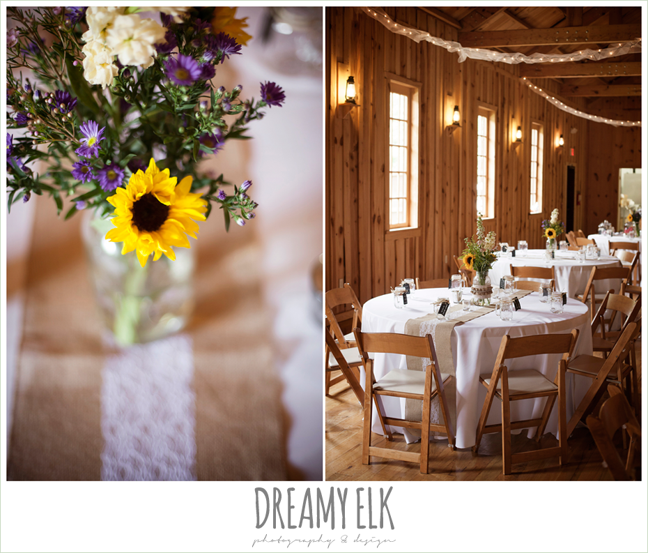 indoor rustic wedding reception, sunflower centerpieces, burlap table runner, amber springs summer wedding photo {dreamy elk photography and design}
