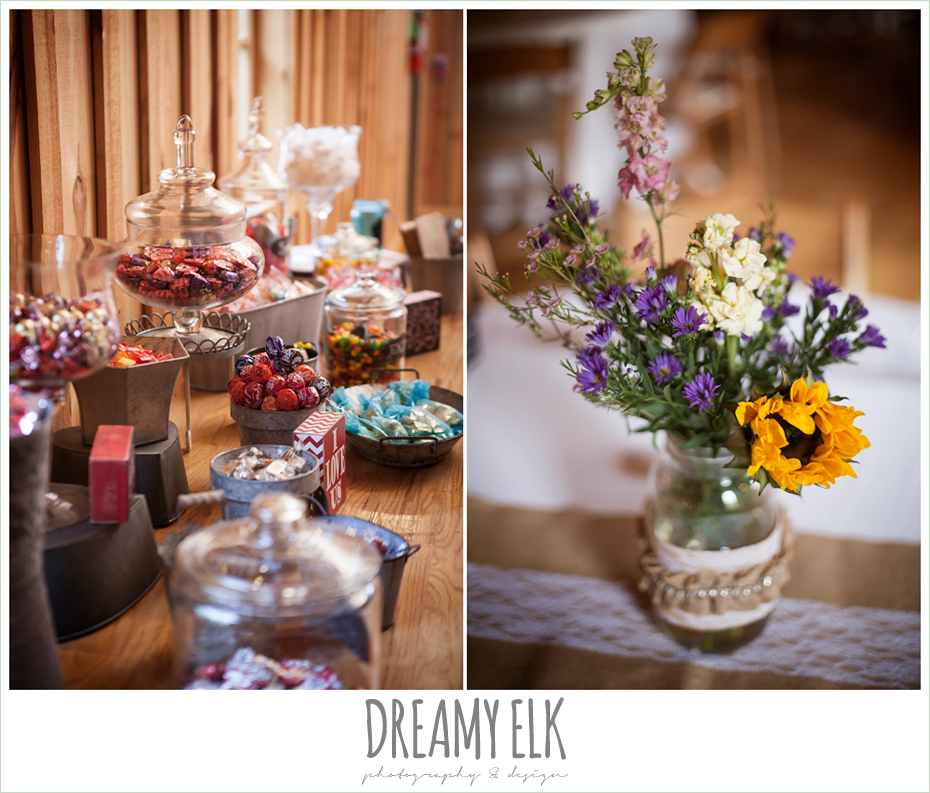 indoor rustic wedding reception, candy bar, amber springs summer wedding photo {dreamy elk photography and design}