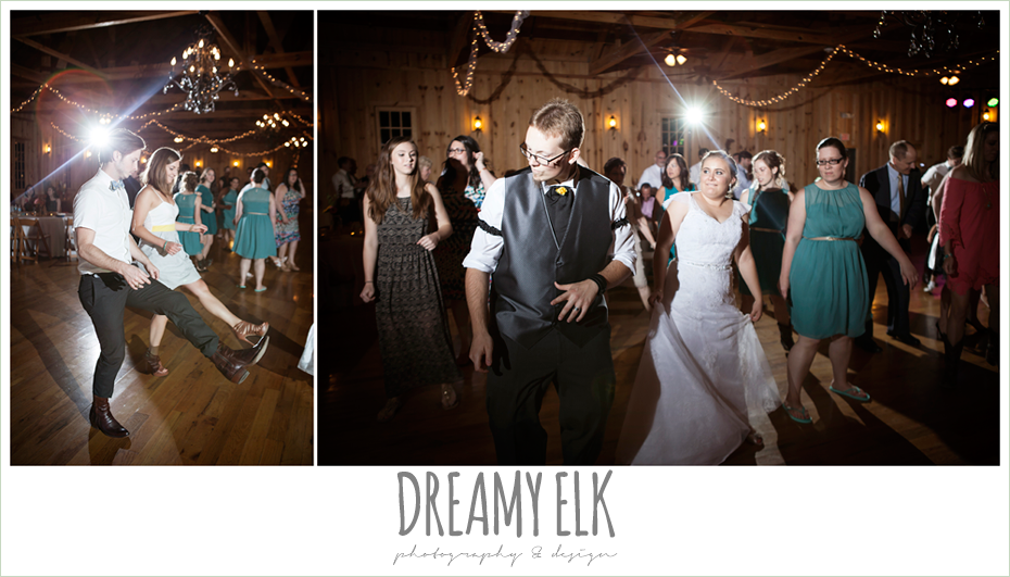 guests dancing at wedding reception, amber springs summer wedding photo {dreamy elk photography and design}