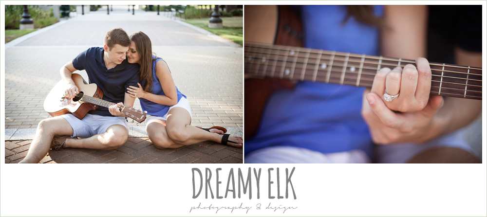 close up of engagement ring, playing guitar in engagement photo, casual wardrobe, texas a&m campus, texas {dreamy elk photography and design}