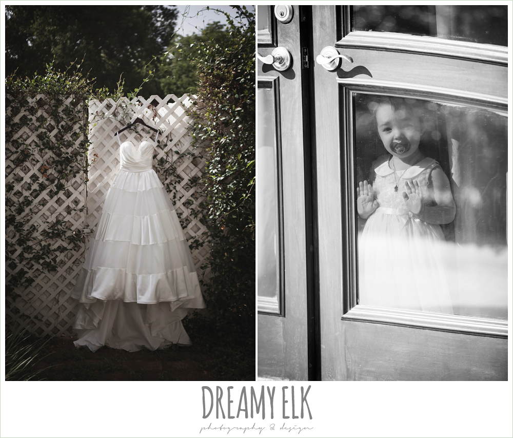 flower girl looking out window, wedding dress hanging on hanger, heather's glen summer wedding photo, houston, texas {dreamy elk photography and design}