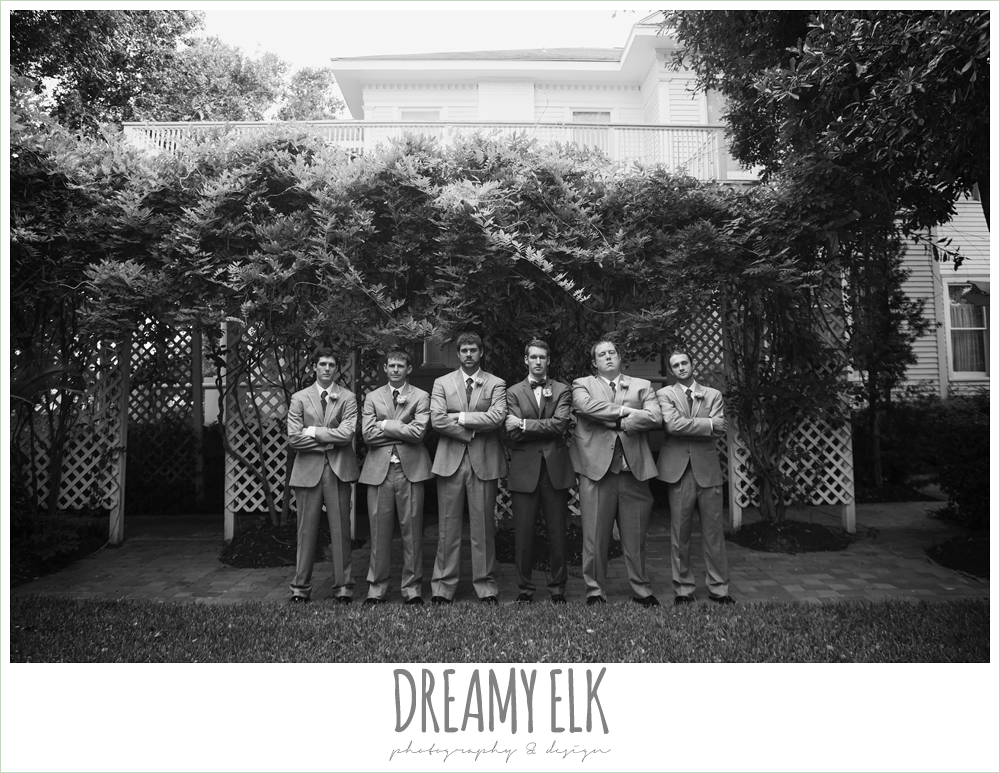 outdoor groom and groomsmen photo, gray suits, heather's glen summer wedding photo, houston, texas {dreamy elk photography and design}