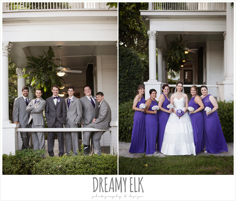 outdoor bridal party, gray suits and purple bow ties, long purple bridesmaids dresses, heather's glen summer wedding photo, houston, texas {dreamy elk photography and design}