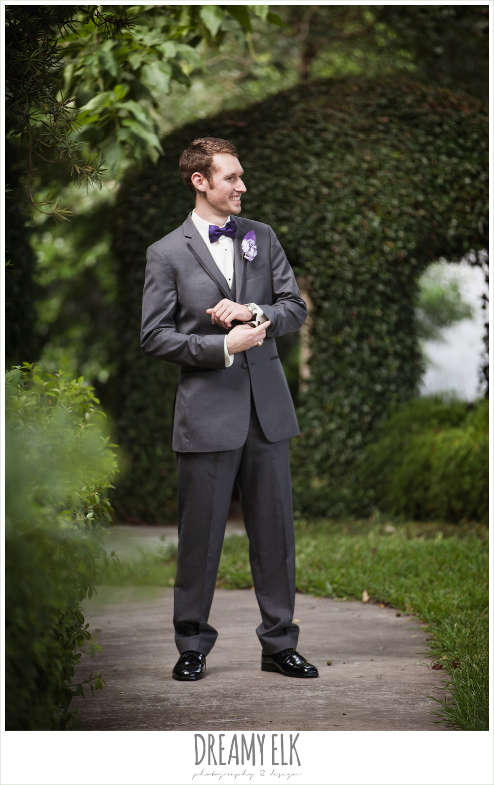outdoor groom's photo, gray suit, purple bow tie, heather's glen summer wedding photo, houston, texas {dreamy elk photography and design}