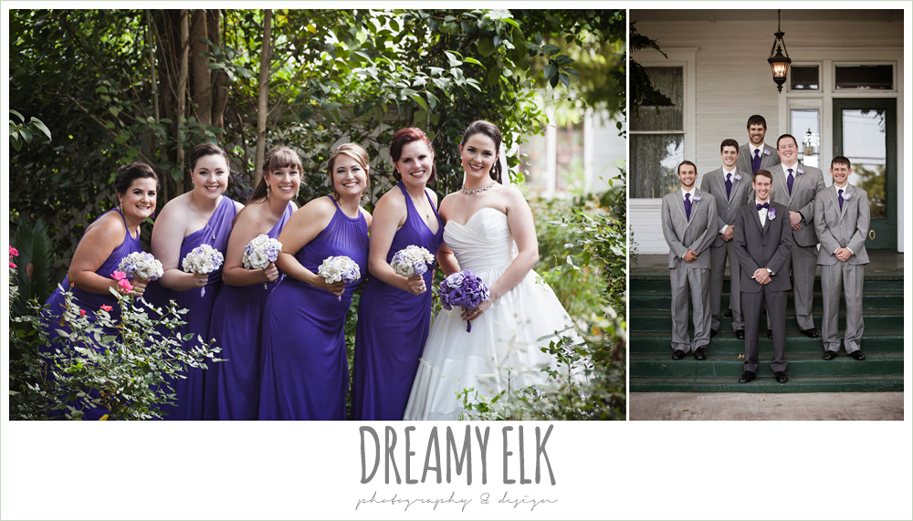 outdoor bridal party portraits, long purple bridesmaids dresses, gray suits, purple bow ties, heather's glen summer wedding photo, houston, texas {dreamy elk photography and design}