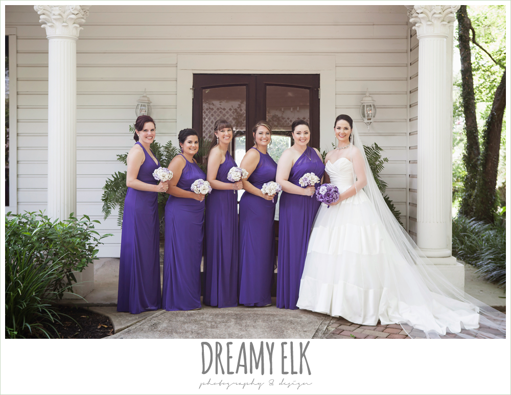 outdoor bride and bridesmaids portraits, long purple bridesmaids dresses, heather's glen summer wedding photo, houston, texas {dreamy elk photography and design}
