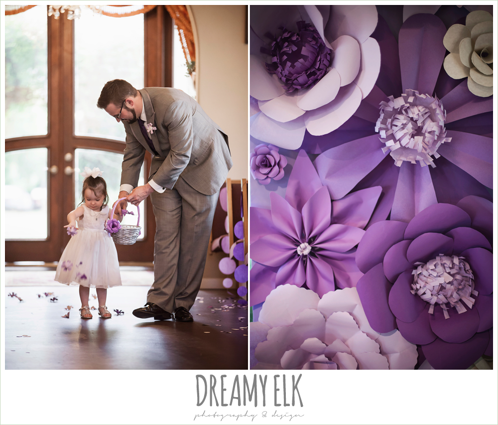 flower girl walking down the aisle, purple paper flower ceremony decor, heather's glen summer wedding photo, houston, texas {dreamy elk photography and design}