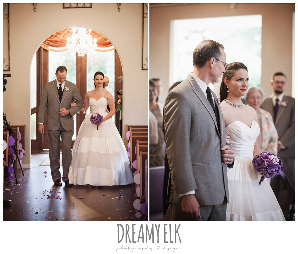 bride and dad walking down the aisle, indoor wedding ceremony, heather's glen summer wedding photo, houston, texas {dreamy elk photography and design}