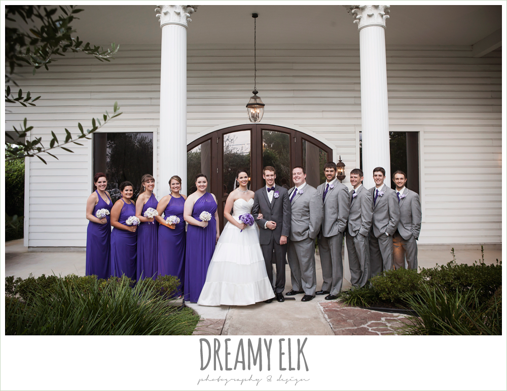 outdoor bridal party photo, long purple bridesmaids dresses, gray suits, indoor wedding ceremony, heather's glen summer wedding photo, houston, texas {dreamy elk photography and design}
