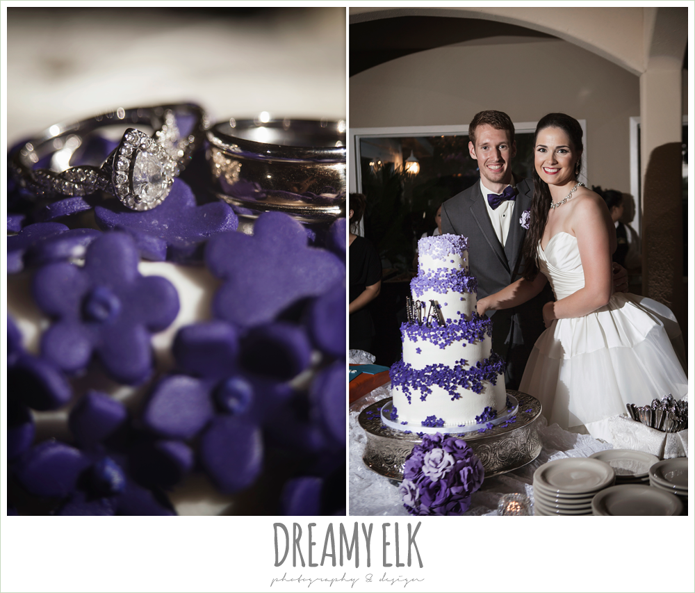 bride and groom cutting the cake, white wedding cake with purple flowers, heather's glen summer wedding photo, houston, texas {dreamy elk photography and design}