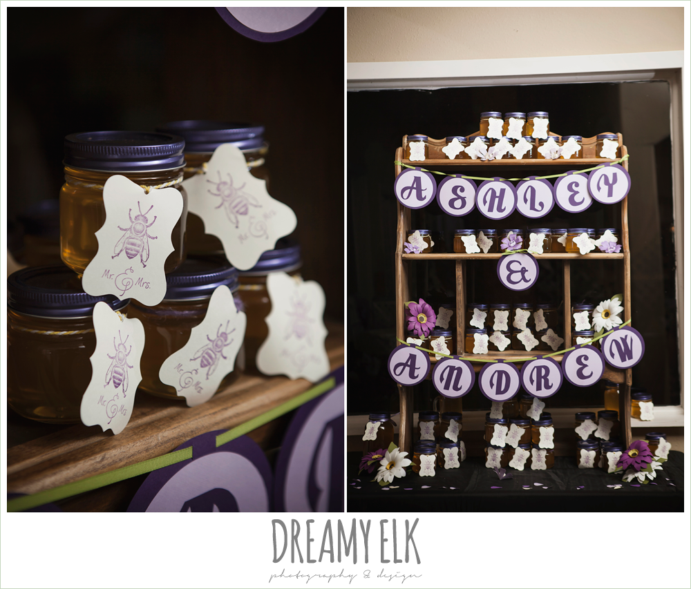 wedding reception decoration ideas, honey jars wedding favors, heather's glen summer wedding photo, houston, texas {dreamy elk photography and design}