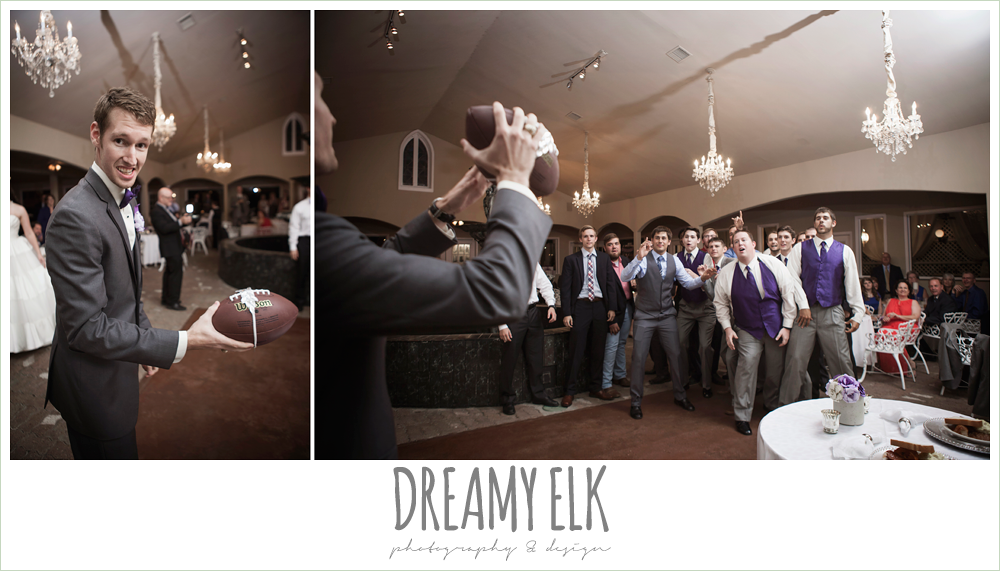garter toss with football, heather's glen summer wedding photo, houston, texas {dreamy elk photography and design}
