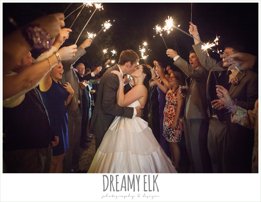 night wedding send off with sparklers, heather's glen summer wedding photo, houston, texas {dreamy elk photography and design}