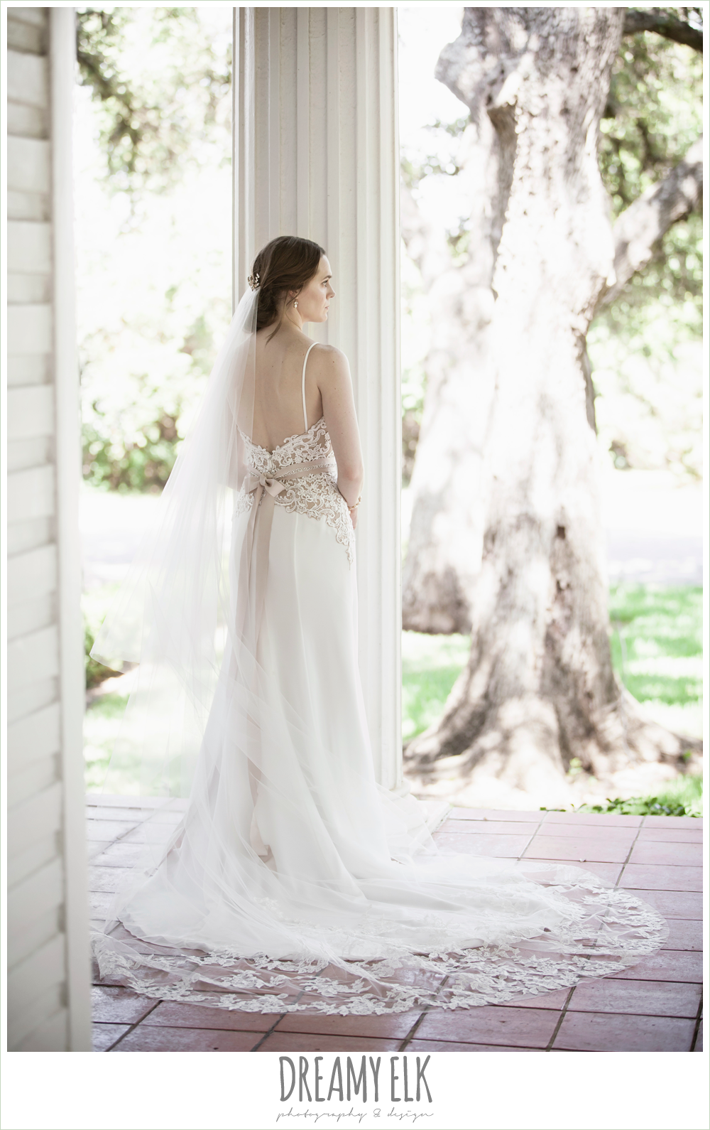sheath two tone wedding dress, cathedral lace wedding veil, indoor summer bridal photo, winfield inn {dreamy elk photography and design}
