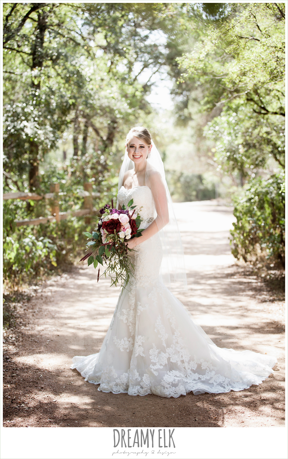 mermaid lace strapless wedding dress, summer outdoor bridal photos, zilker botanical gardens, austin, texas {dreamy elk photography and design}