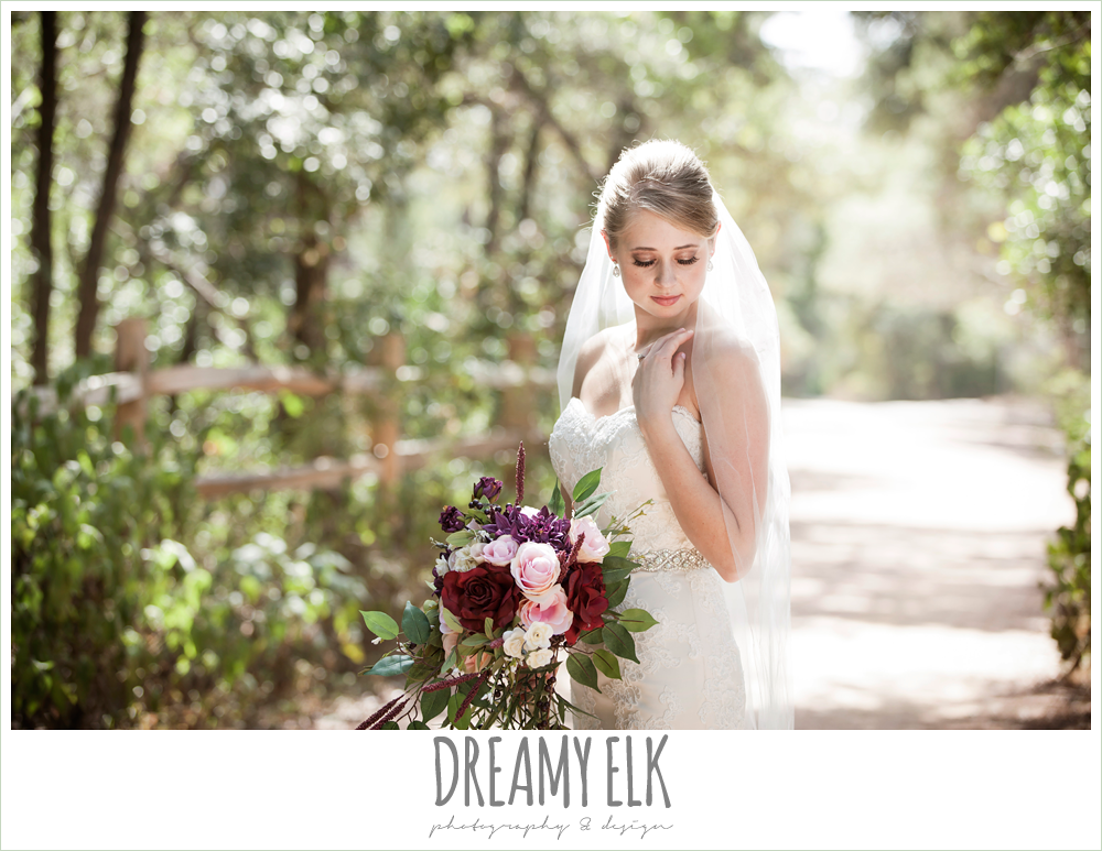 pink, burgundy, purple wedding bouquet, mermaid lace strapless wedding dress, summer outdoor bridal photos, zilker botanical gardens, austin, texas {dreamy elk photography and design}
