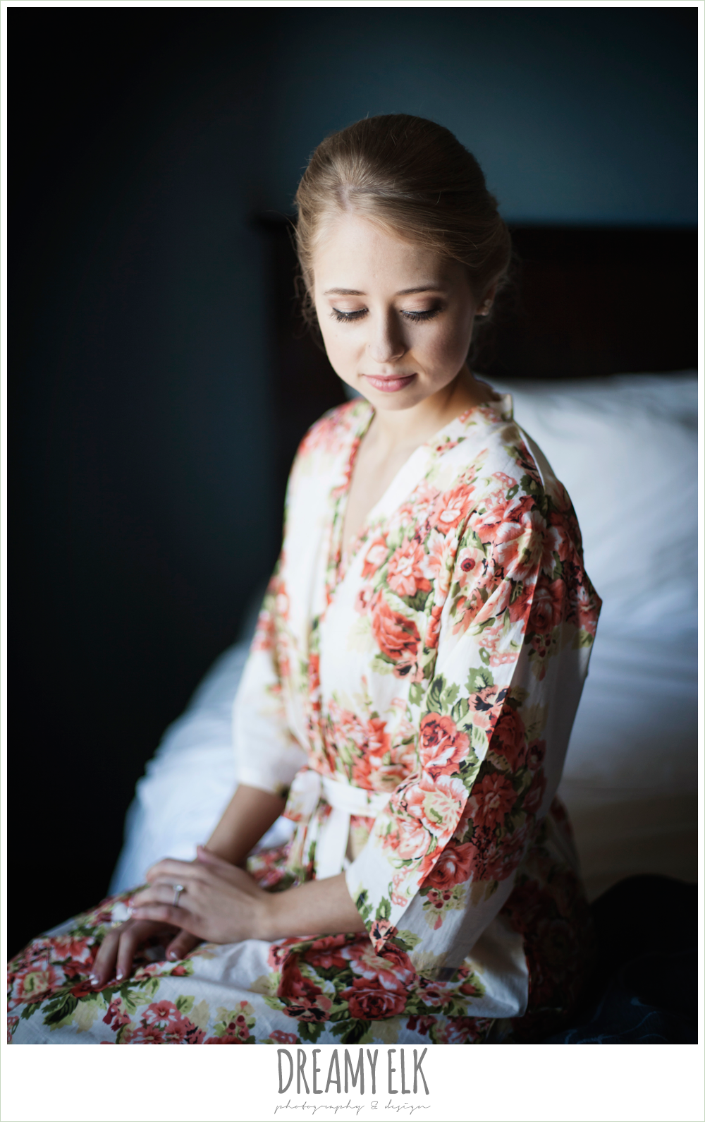 bride wearing floral robe, the union on 8th wedding photo {dreamy elk photography and design}