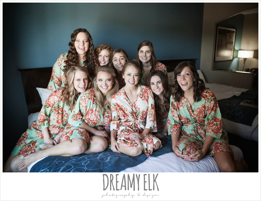 bride and bridesmaids wearing floral robe, the union on 8th wedding photo {dreamy elk photography and design}