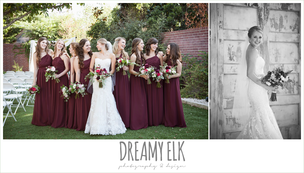 flourish floral design, burgundy and light pink wedding bouquets, bride and bridesmaids, mermaid lace wedding dress, burgundy floor length bridesmaids dresses, the union on 8th wedding photo {dreamy elk photography and design}
