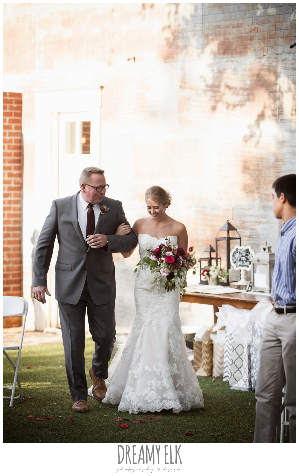 bride and dad walking down the aisle, flourish floral design, burgundy and light pink wedding bouquets, the union on 8th wedding photo {dreamy elk photography and design}