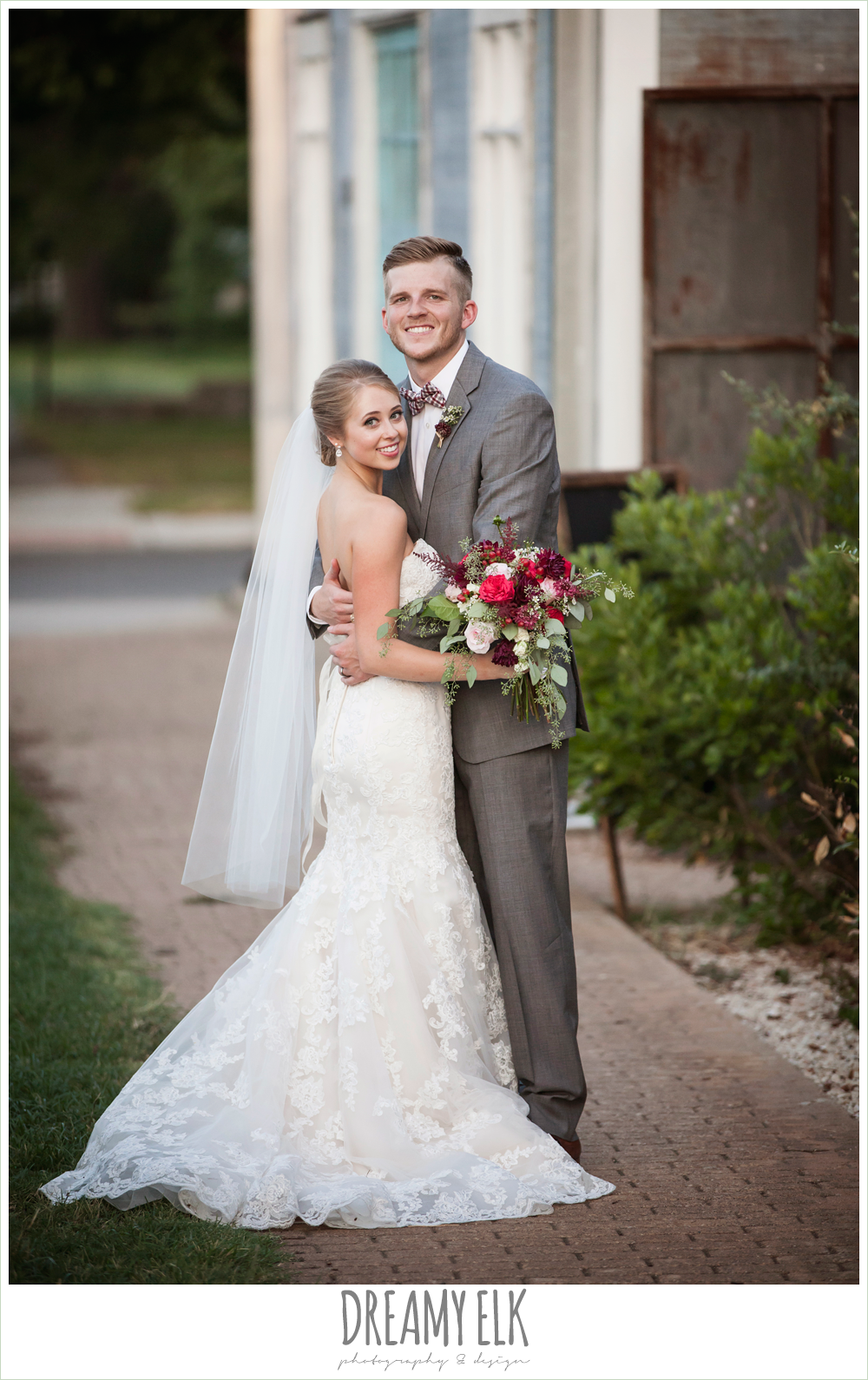 bride and groom portraits, flourish floral design, burgundy and light pink wedding bouquets, the union on 8th wedding photo {dreamy elk photography and design}