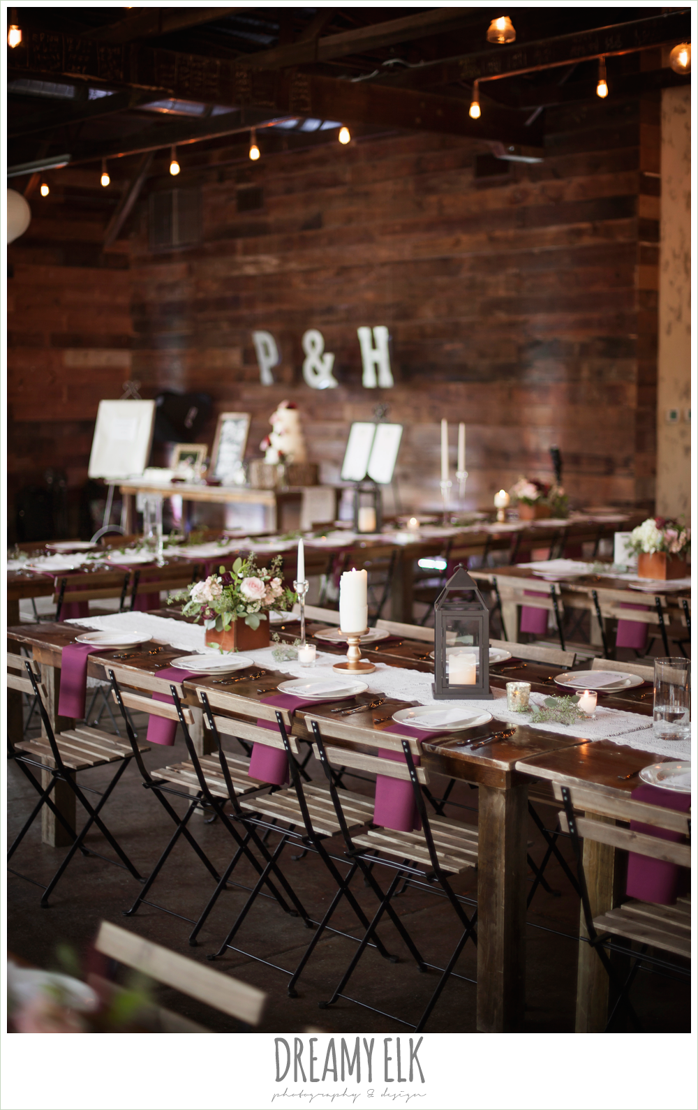wedding reception decor, industrial, bride and groom portraits, the union on 8th wedding photo {dreamy elk photography and design}