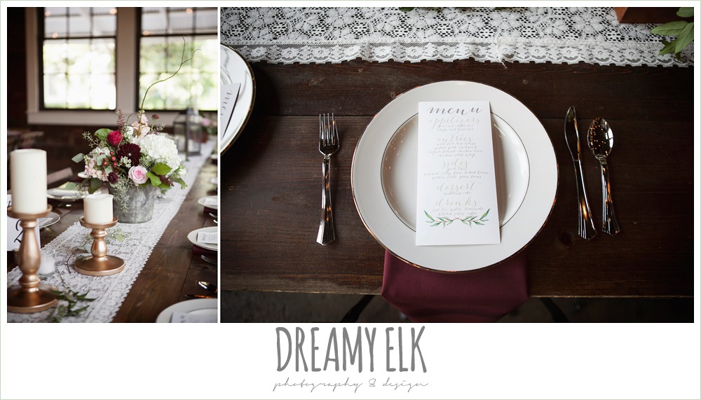 wedding reception decor, table setting with menu card, table centerpieces, the union on 8th wedding photo {dreamy elk photography and design}