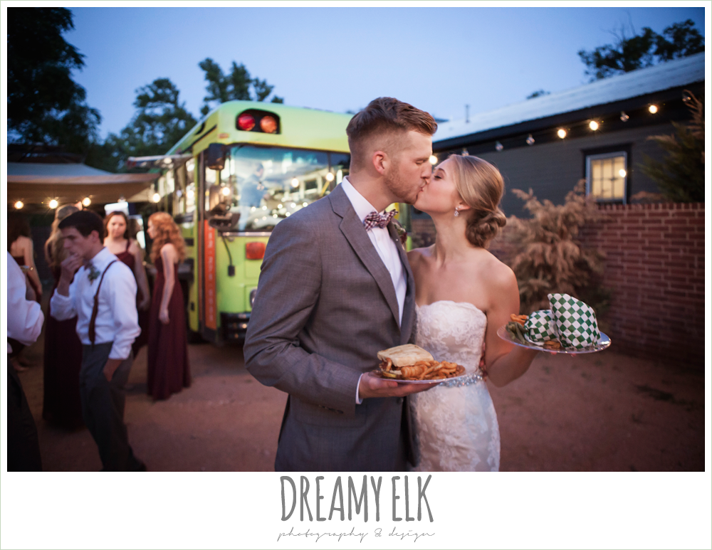 bride and groom kissing, food truck at wedding reception, foodapalooza, the union on 8th wedding photo {dreamy elk photography and design}