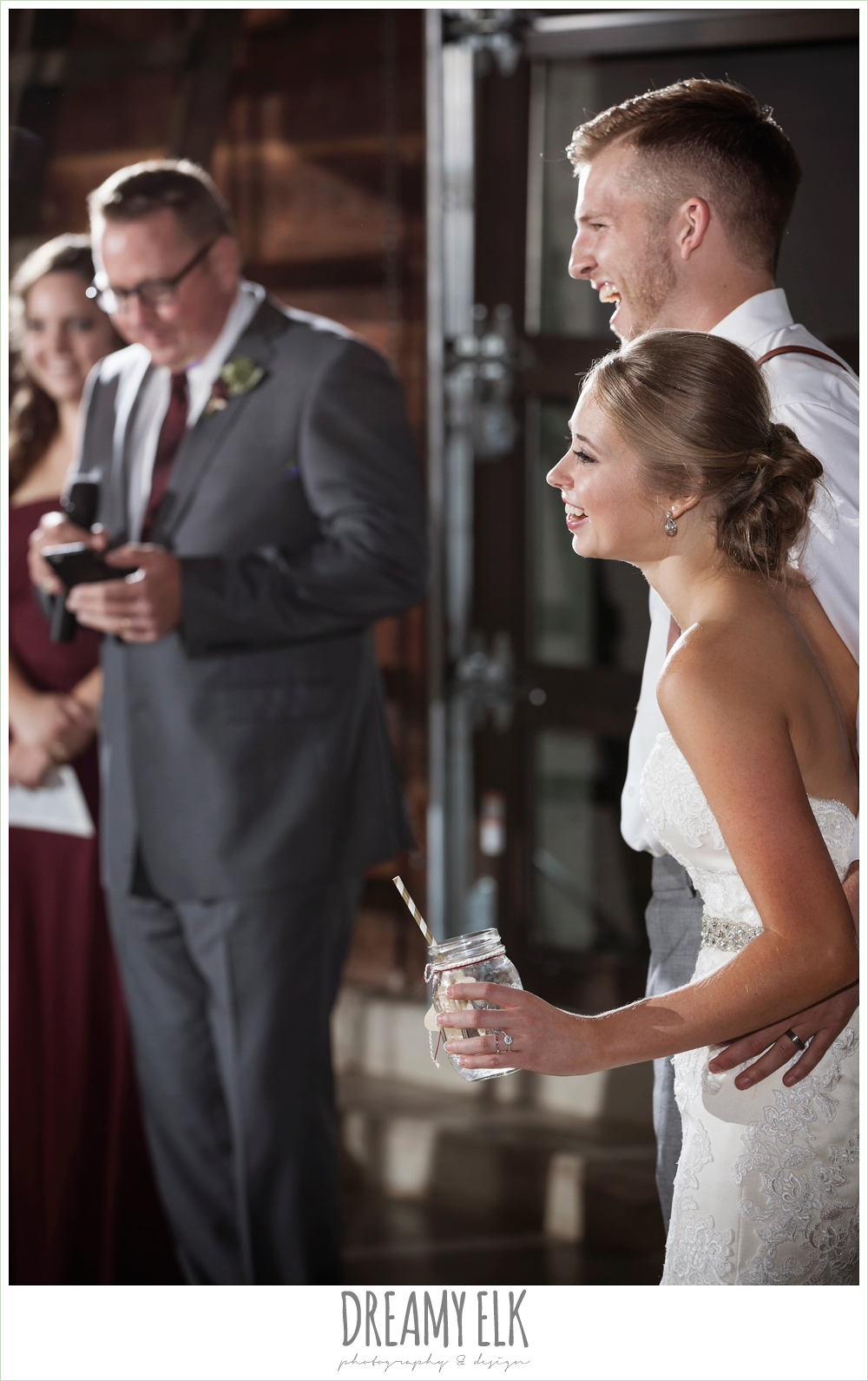 bride and groom laughing during toasts, the union on 8th wedding photo {dreamy elk photography and design}