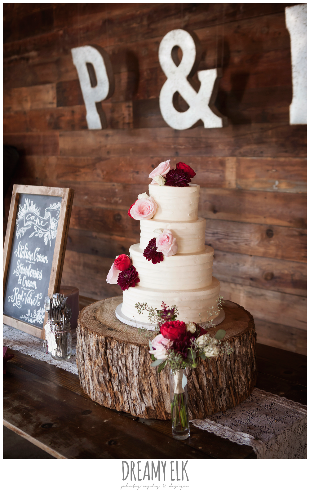Michelle's Patisserie, four tier white wedding cake, flowers on cake, the union on 8th wedding photo {dreamy elk photography and design}