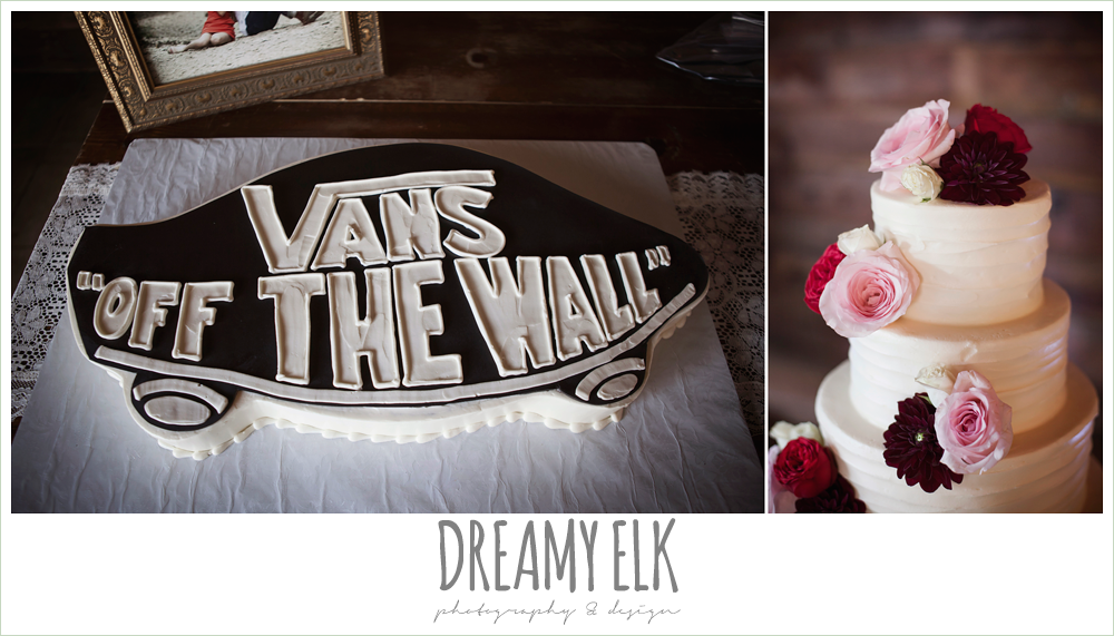Michelle's Patisserie, groom's wedding cake, Van's shoe, white wedding cake with flowers the union on 8th wedding photo {dreamy elk photography and design}