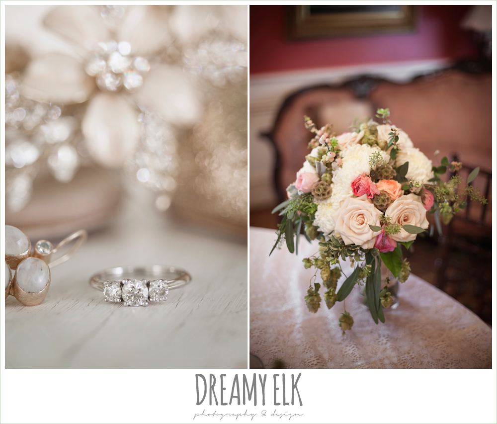 three stone engagement ring, blush neutral unique wedding bouquet, bouquets of austin, the winfield inn, wedding photo {dreamy elk photography and design}