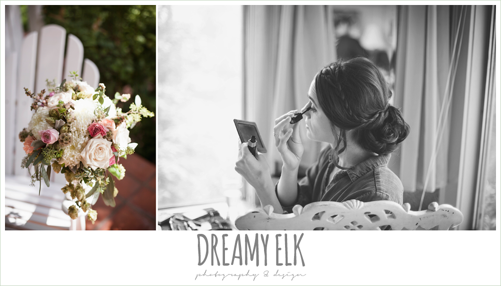 bouquets of austin, bride putting on makeup, the winfield inn, wedding photo {dreamy elk photography and design}