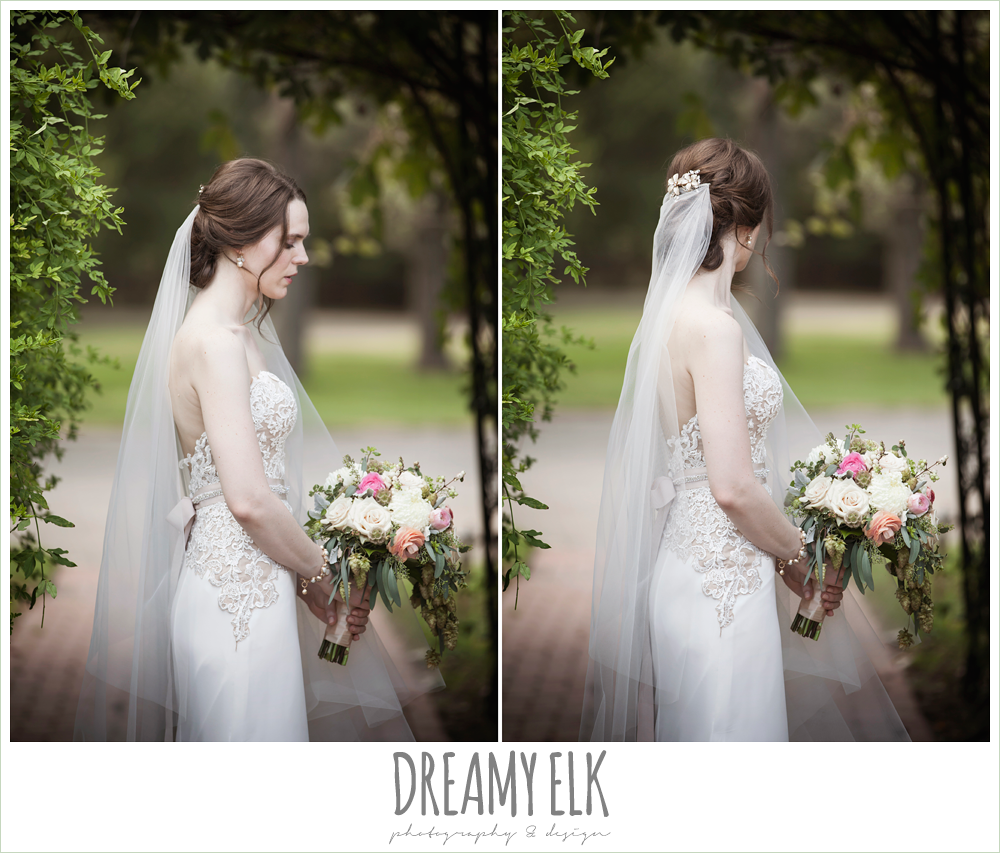 wedding hair updo, cathedral length lace veil, sweetheart strapless two tone wedding dress, bouquets of austin, the winfield inn, summer wedding photo {dreamy elk photography and design}