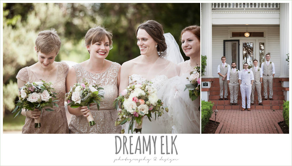 groom in linen vest and pant, pink bow tie, blush tone bridesmaids dresses, sweetheart strapless two tone wedding dress, bouquets of austin, the winfield inn, summer wedding photo {dreamy elk photography and design}
