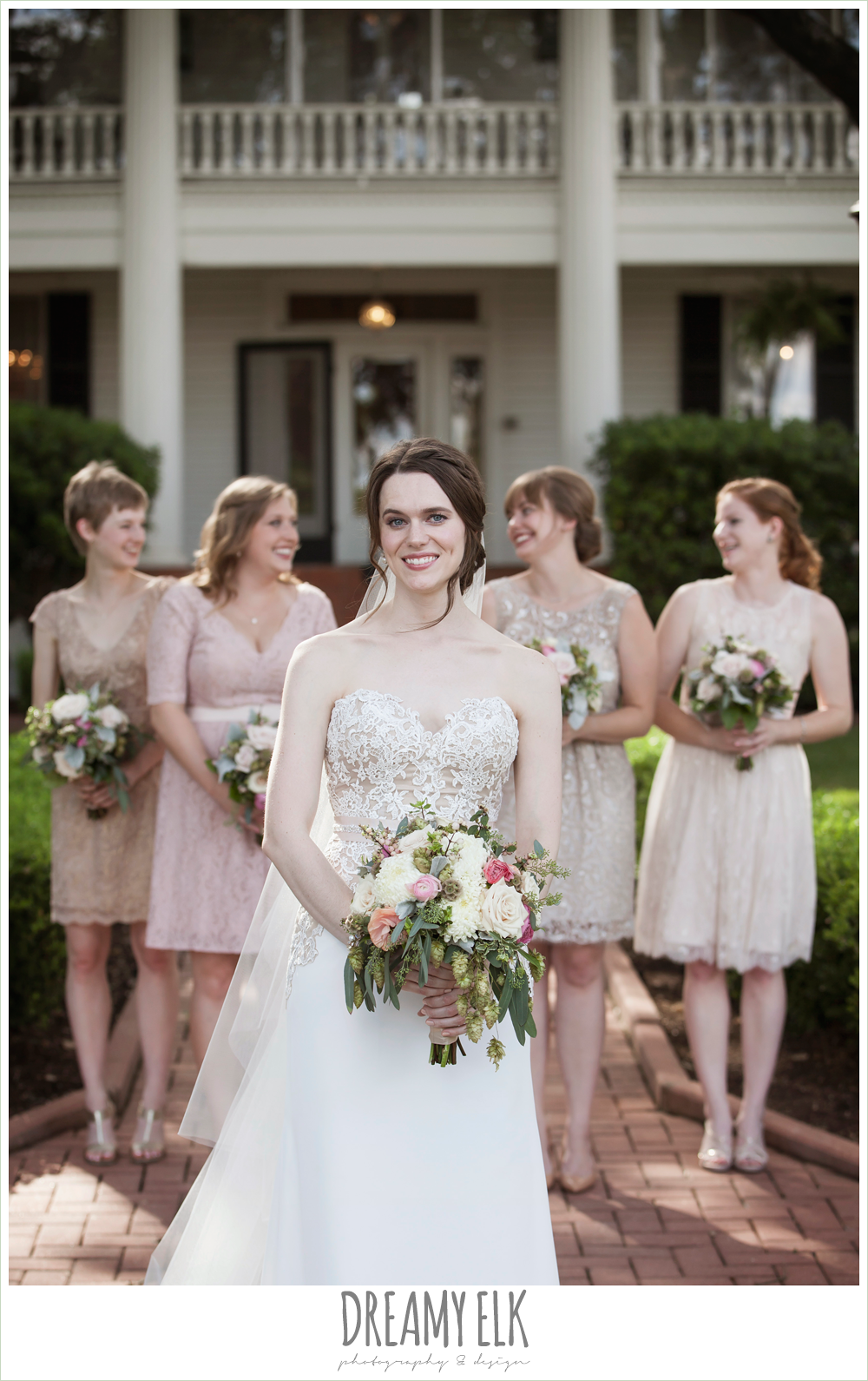 blush tone bridesmaids dresses, sweetheart strapless two tone wedding dress, bouquets of austin, the winfield inn, summer wedding photo {dreamy elk photography and design}