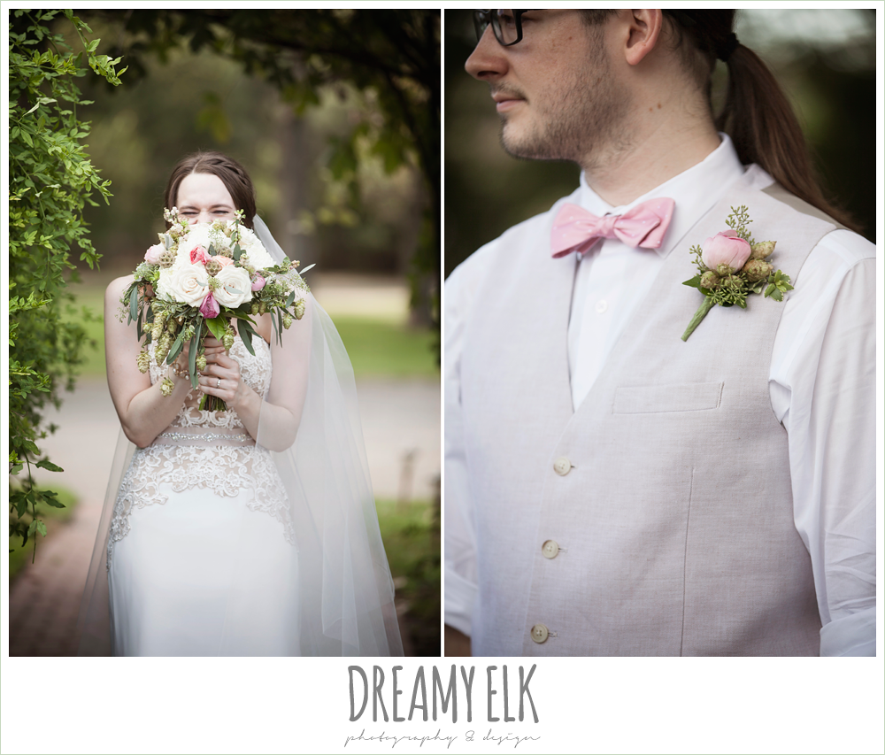groom in linen vest and pant, pink bow tie, cathedral length lace veil, sweetheart strapless two tone wedding dress, bouquets of austin, the winfield inn, summer wedding photo {dreamy elk photography and design}