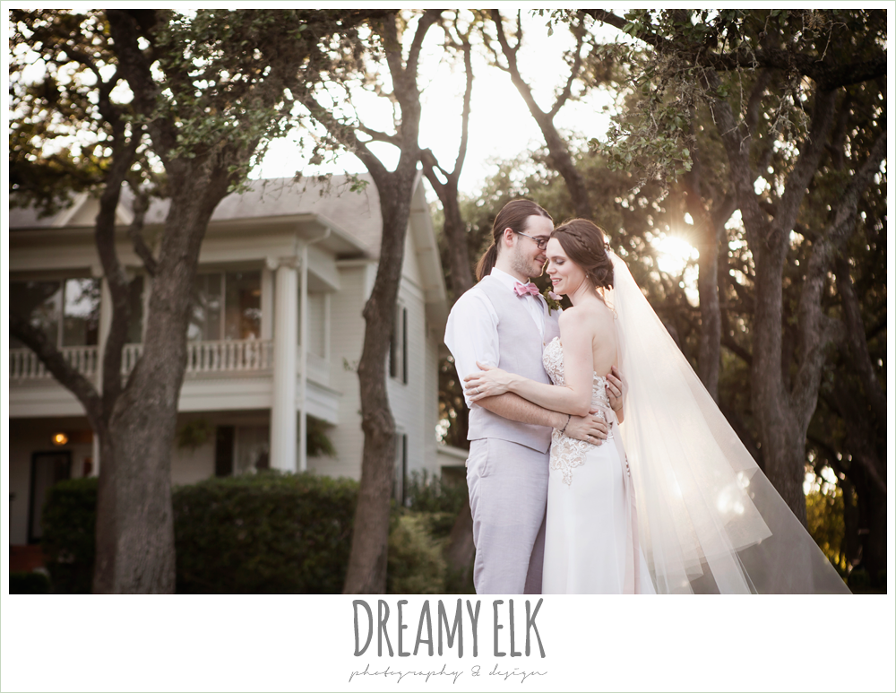 outdoor bride and groom portraits, long veil, groom in vest and bow tie, the winfield inn, photo {dreamy elk photography and design}