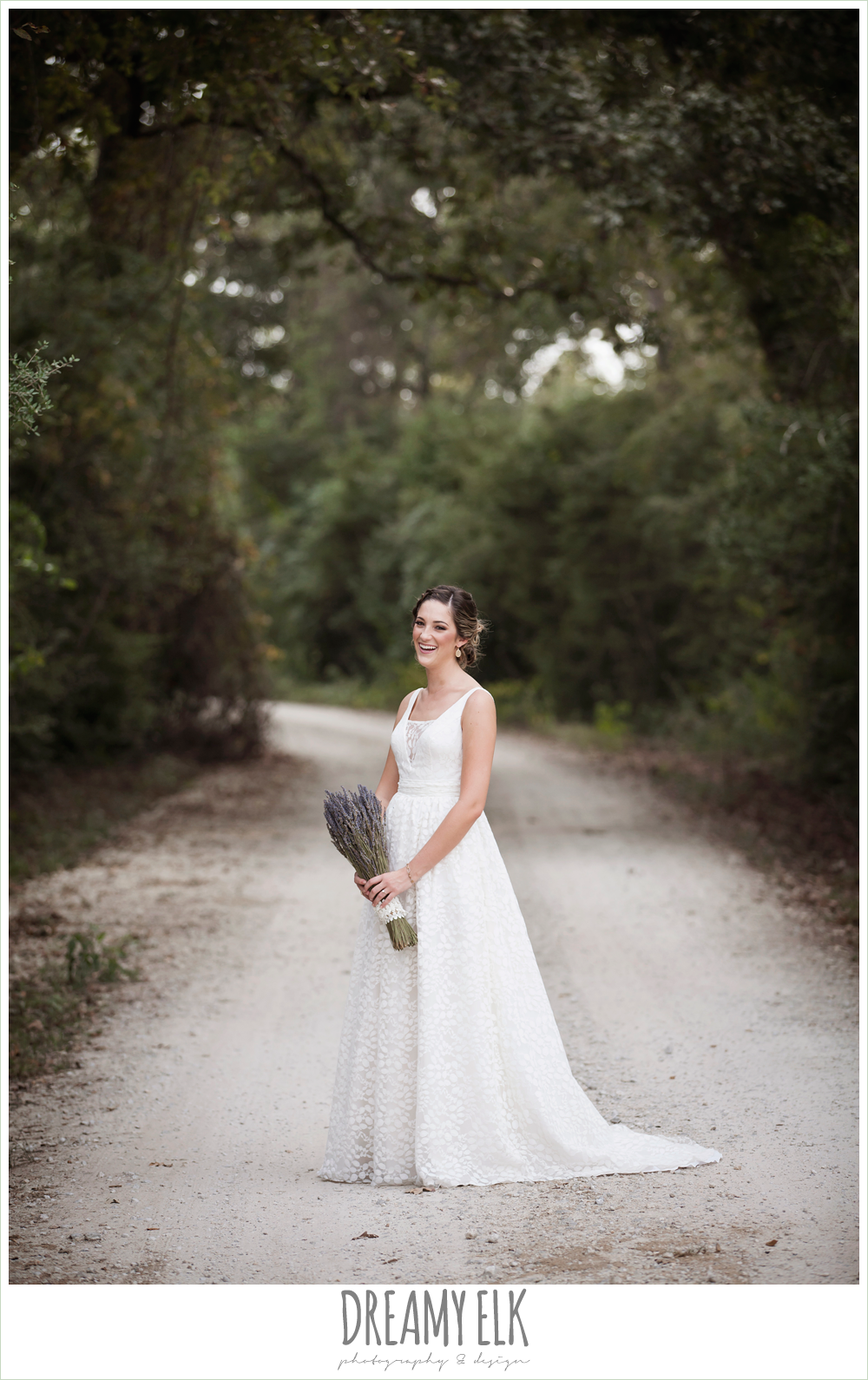 country rustic bridal portrait, lavender wedding bouquet, the amish barn at edge, country dirt road {dreamy elk photography and design}