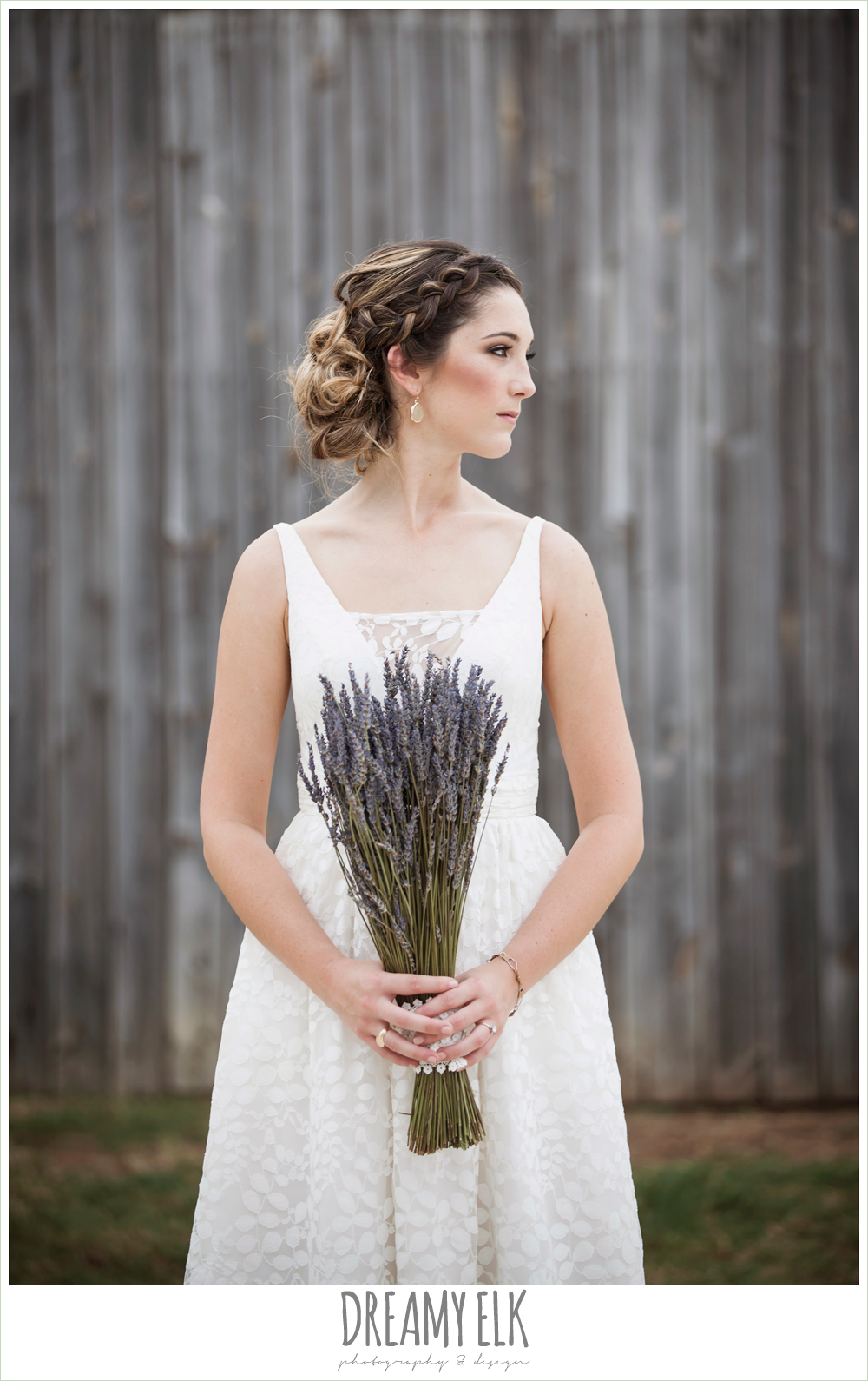 wedding hair updo with braid, country rustic bridal portrait, lavender wedding bouquet, the amish barn at edge {dreamy elk photography and design}