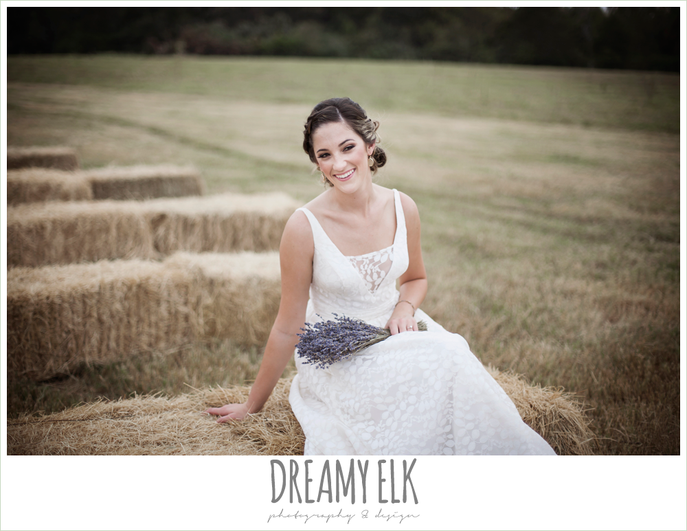 country rustic bridal portrait in a field, wedding hair updo with braid, lavender wedding bouquet, the amish barn at edge {dreamy elk photography and design}
