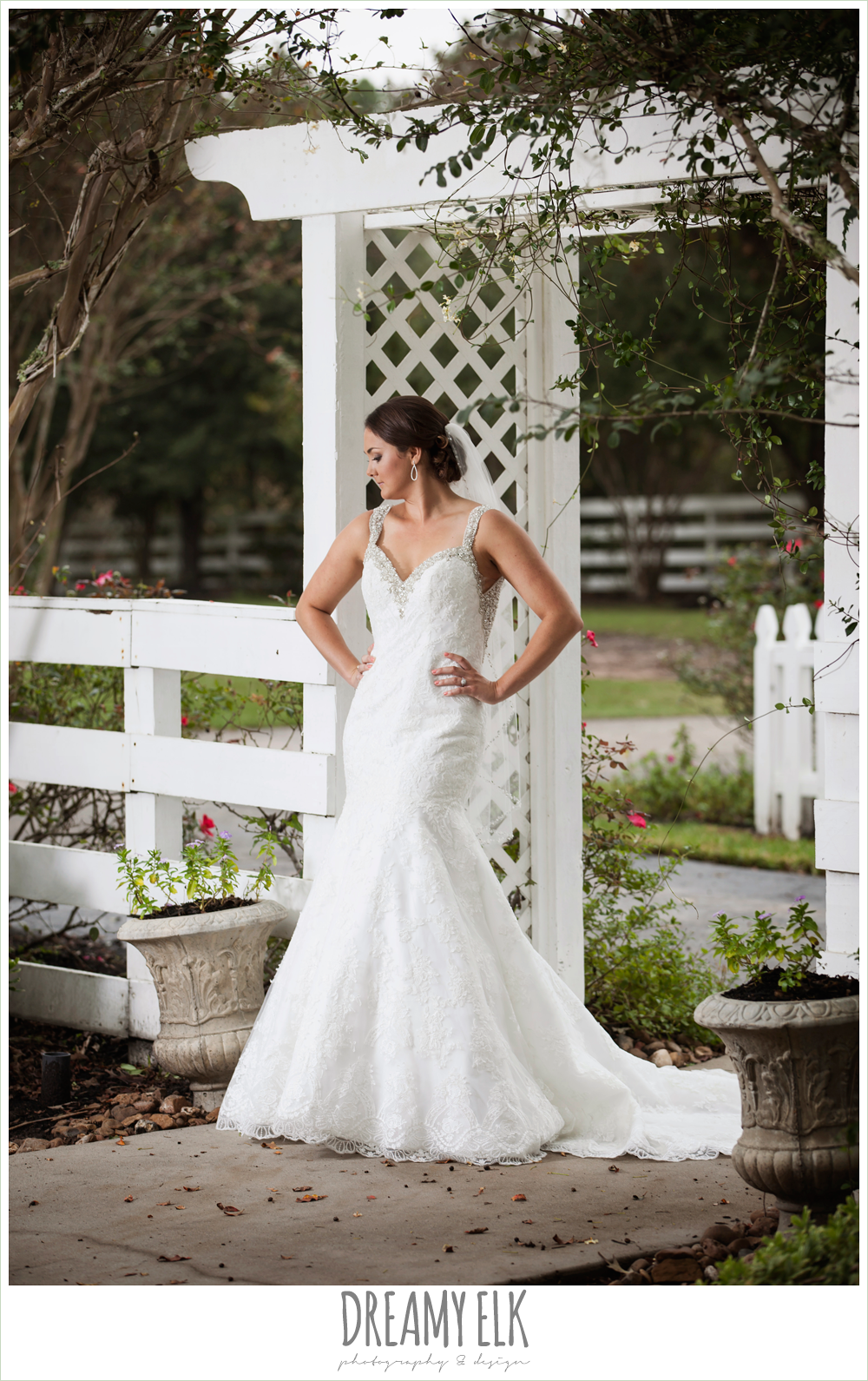 outdoor bridal portrait, backless lace beaded wedding dress, trumpet silhouette, ashelynn manor {dreamy elk photography and design}